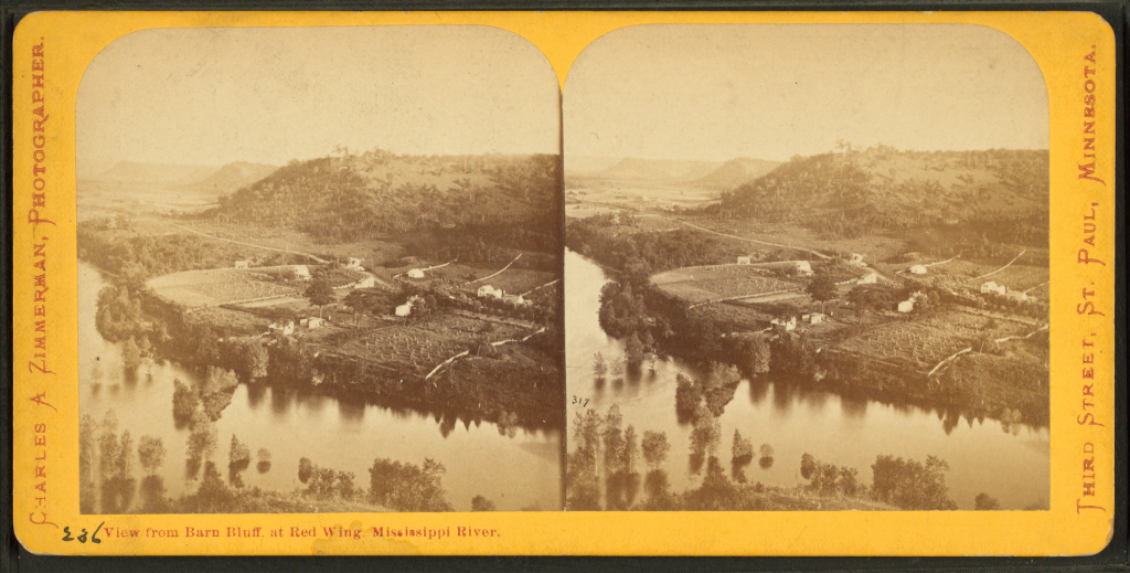 View_from_barn_bluff_at_Red_Wing,_Mississippi_river,_by_Zimmerman,_Charles_A.,_1844-1909