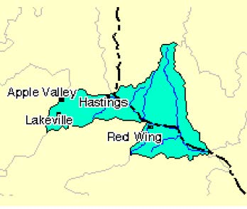 Rush-Vermillion Watershed map